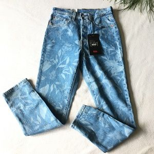 Levi's printed skinny 501 high rise Button fly